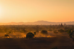 Sunset over Baga. Sunset over ancient Bagan in Myanmar Stock Photography