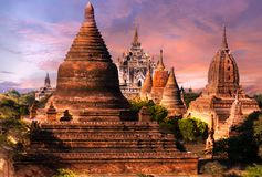 Sunset over Bagan stock images