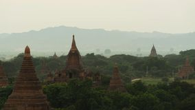 Sunset over Bagan pagoda field stock footage