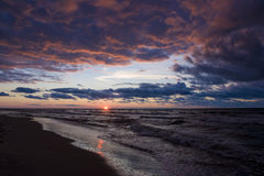 Sunset over the Baltic Sea Royalty Free Stock Image