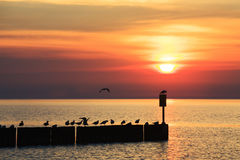 Sunset over Baltic Sea in Kolobrzeg Stock Photo