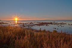 Sunset over the Baltic Sea. On Swedish island Gotland Stock Image