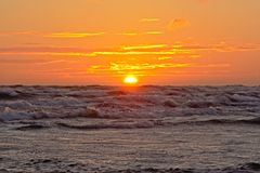 Sunset over the Baltic sea Stock Image