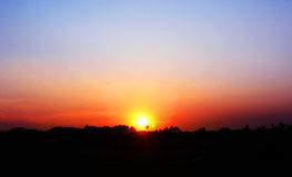 Sunset. Over the Bangladeshi village in the town of Savar Stock Photography