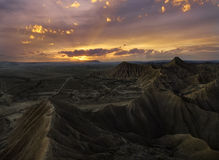 Sunset over Bardenas Stock Images