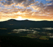Sunset over the Bavarian Forest National Park Royalty Free Stock Photo
