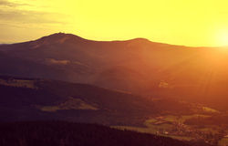 Sunset over the Bavarian Forest National Park. Stock Image