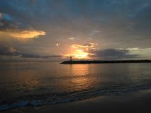 Aquadillia Puerto Rico Bay Sunset. Sunset Over The Bay of Aquadillia Puerto Rico Stock Photo