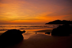 Sunset over the Bay of Bengal Royalty Free Stock Image