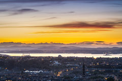 Sunset over the bay in Edinburgh Royalty Free Stock Image