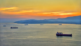 Sunset over the Bay of Gibraltar Stock Photography