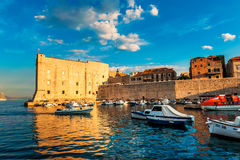 Sunset over the bay in the historic center of the old city of Dubrovnik Stock Photos