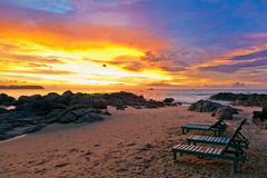 Sunset over the beach Royalty Free Stock Images
