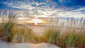 Sunset over the beach of Ameland Royalty Free Stock Photos