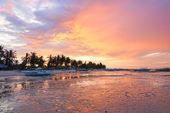 Sunset over the beach at Bantayan Island, Philippines Stock Image