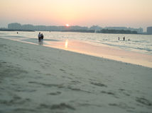 Sunset over a beach in Dubai Royalty Free Stock Photography