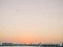 Sunset over a beach in Dubai Stock Photo