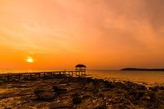 Sunset over the beach, island Koh Kood Royalty Free Stock Photos