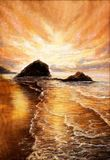 Sunset over beach. Original  oil painting of beautiful golden sunset over ocean beach on canvas.Modern Impressionism, modernism,marinism Royalty Free Stock Photo