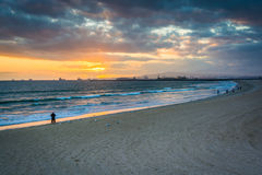 Sunset over the beach and Pacific Ocean  Royalty Free Stock Image