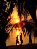 Sunset over a beach in Thailand. Royalty Free Stock Photos