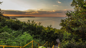 Sunset over the the beach of town. Bulgaria. Stock Photography