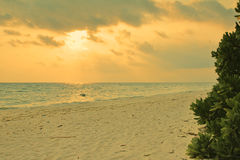 Sunset over beach of Ukulhas in the Indian ocean, Maldives Royalty Free Stock Images