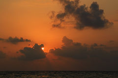 Sunset over beach of Ukulhas in the Indian ocean, Maldives Royalty Free Stock Photography