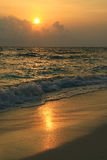 Sunset over beach of Ukulhas in the Indian ocean, Maldives Stock Photography