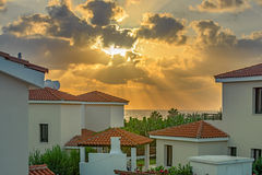 Sunset over beach villas on Cyprus Royalty Free Stock Images