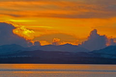 Sunset over the Beauly Firth in winter. Stock Photos