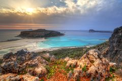 Sunset over beautiful Balos beach Royalty Free Stock Photos