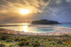 Sunset over beautiful Balos beach Royalty Free Stock Photo