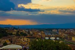 Florence, Italy - September 08, 2017: Sunset over the beautiful city of Florence. stock images