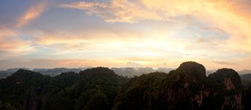 Sunset over beautiful Krabi mountains, Thailand Stock Images