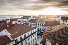 Sunset over beautiful Lisbon, capital city of Portugal Stock Photos