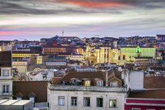 Sunset over beautiful Lisbon, capital city of Portugal Royalty Free Stock Images