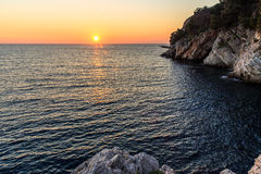 Sunset. Over the beautiful sea Stock Photography