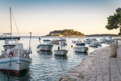 Sunset over beautiful town Hvar, Hvar island, Croatia Royalty Free Stock Photos