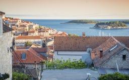 Sunset over beautiful town Hvar, Hvar island, Croatia Stock Photography
