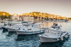 Sunset over beautiful town Hvar, Hvar island, Croatia Royalty Free Stock Images
