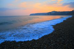 Sunset over Beer Head. In East Devon on the Jurassic Coast Stock Photos