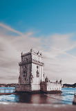 Sunset over Belem Tower Stock Images