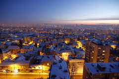 Sunset over Belgrade Covered by Snow Royalty Free Stock Image