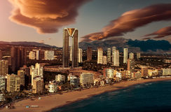 Sunset over Benidorm city Royalty Free Stock Images