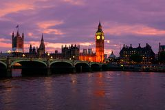 Sunset over Big Ben and Parliament, London, England. Beautiful sunset over Big Ben and the Parliament buildings, London, England Stock Photo