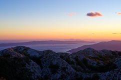 Sunset over Biokovo park mountains, Croatia Royalty Free Stock Image