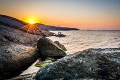 Sunset over Black Sea in Rumeli Feneri royalty free stock photos