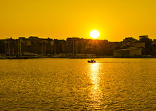 Sunset over the Black Sea in the Touristic Port Tomis in Constanta, Romania. Royalty Free Stock Images