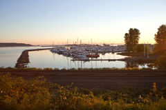 Sunset over Blaine harbor. With railroad Royalty Free Stock Photos